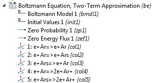 """""""玻尔兹曼方程,两项近似""""接口的模型树屏幕截图。"""