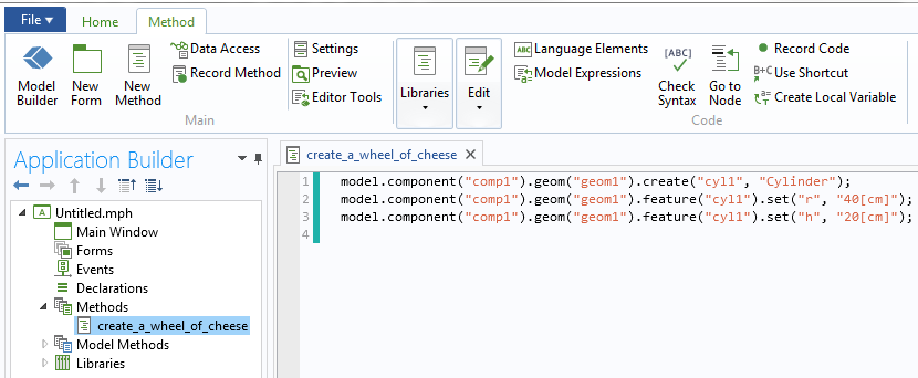 A screenshot of the code for a method in the Application Builder.