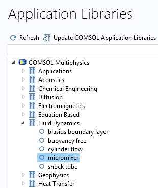 A cropped screenshot of the Application Libraries in COMSOL Multiphysics with the micromixer tutorial selected.