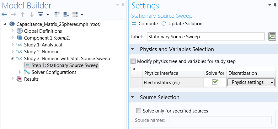 A screenshot of the Stationary Source Sweep settings in COMSOL Multiphysics.