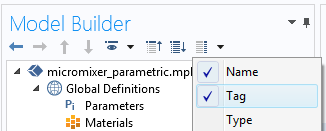 A cropped screenshot of the Model Builder in COMSOL Multiphysics with the Tag option selected.