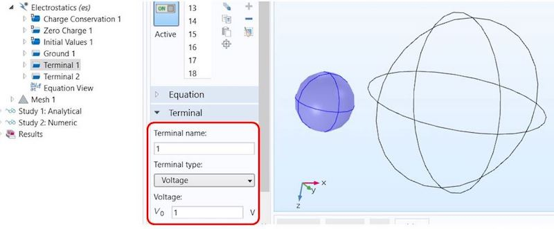An annotated screenshot showing the terminal condition settings in COMSOL Multiphysics.