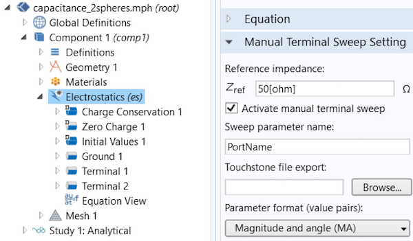 A screenshot showing the Electrostatics interface in COMSOL Multiphysics.
