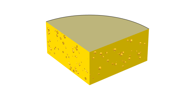 An image showing a model of cheese with randomized holes.