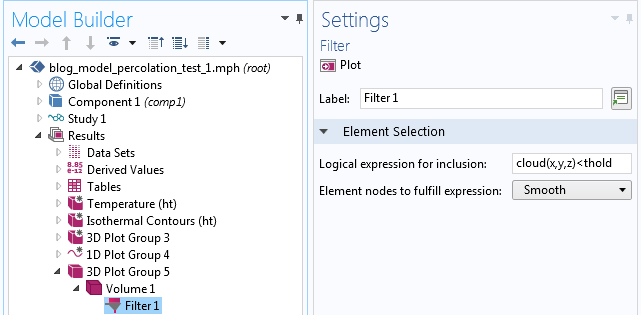 A screenshot showing the Filter settings in COMSOL Multiphysics.