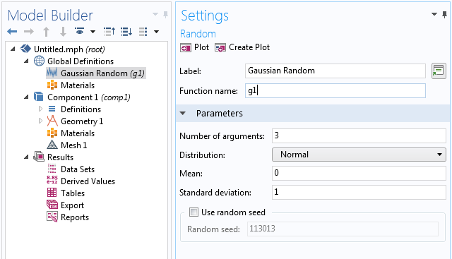 A screenshot of the settings for the Gaussian Random function in COMSOL Multiphysics.