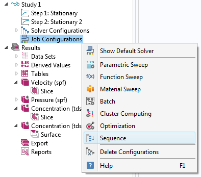 A cropped screenshot of COMSOL Multiphysics after right-clicking the Job Configurations node.