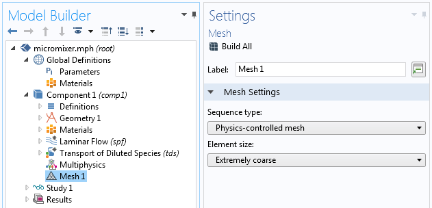 A cropped screenshot of the Model Builder in COMSOL Multiphysics with the Mesh node highlighted.
