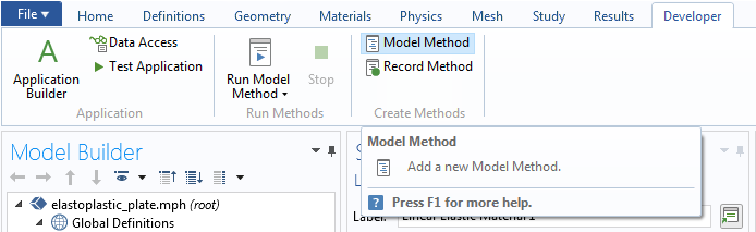 A screenshot of the COMSOL Multiphysics GUI with the Model Method button highlighted.