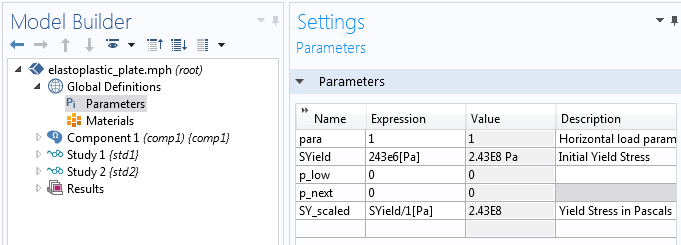 A screenshot highlighting the Parameters settings in the COMSOL Multiphysics software.