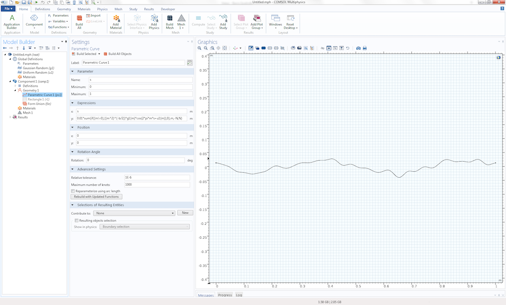 A screenshot of COMSOL Multiphysics showing a randomized curve.