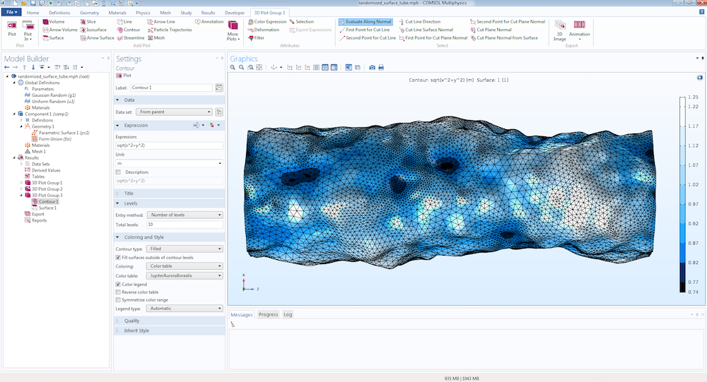 A screenshot of COMSOL Multiphysics showing a randomized tubular surface.