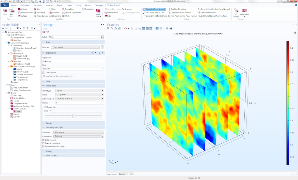 An example of creating a Slice plot to visualize COMSOL model data.