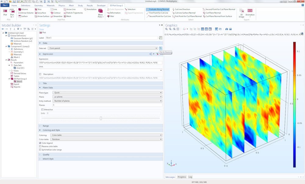 A screenshot of the COMSOL Multiphysics GUI featuring a Slice plot in the Graphics window.
