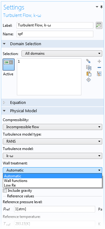 The Settings window for the Turbulent Flow, k-ω interface in COMSOL Multiphysics.