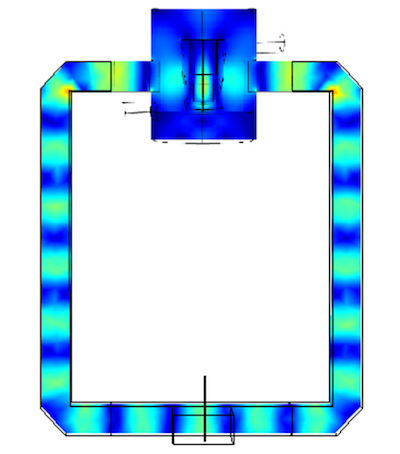 A model by N. Rezaii and J.P. Mai showing the electric field distribution in the resonator and waveguide.