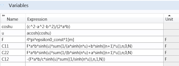 A screenshot showing expressions declared as variables in COMSOL Multiphysics.