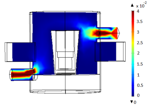 A model by N. Rezaii and J.P. Mai showing the resonator's gas velocity distribution.