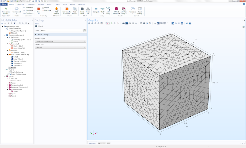 An illustration of generating a default mesh in a COMSOL model.