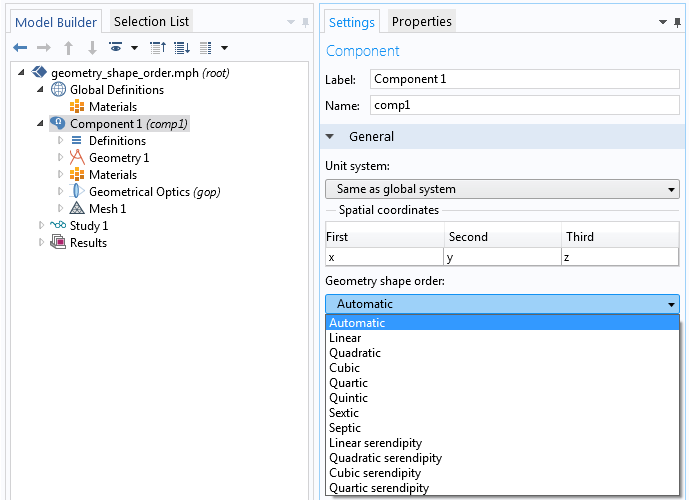 A screenshot of the geometry shape order settings in COMSOL Multiphysics.