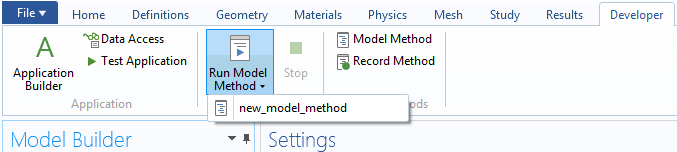 A screenshot demonstrating how to run a method from the Developer tab in COMSOL Multiphysics.