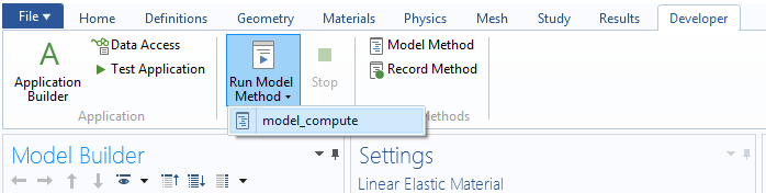 A screenshot of the COMSOL Multiphysics GUI showing how to run a method.