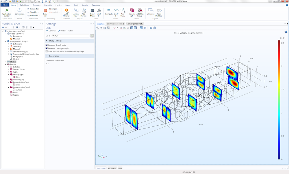 The COMSOL software GUI with a micromixer model in the Graphics window.