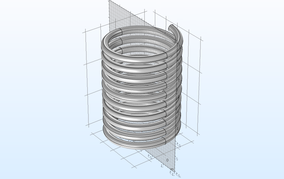 A partitioned helix model geometry, created with COMSOL Multiphysics.
