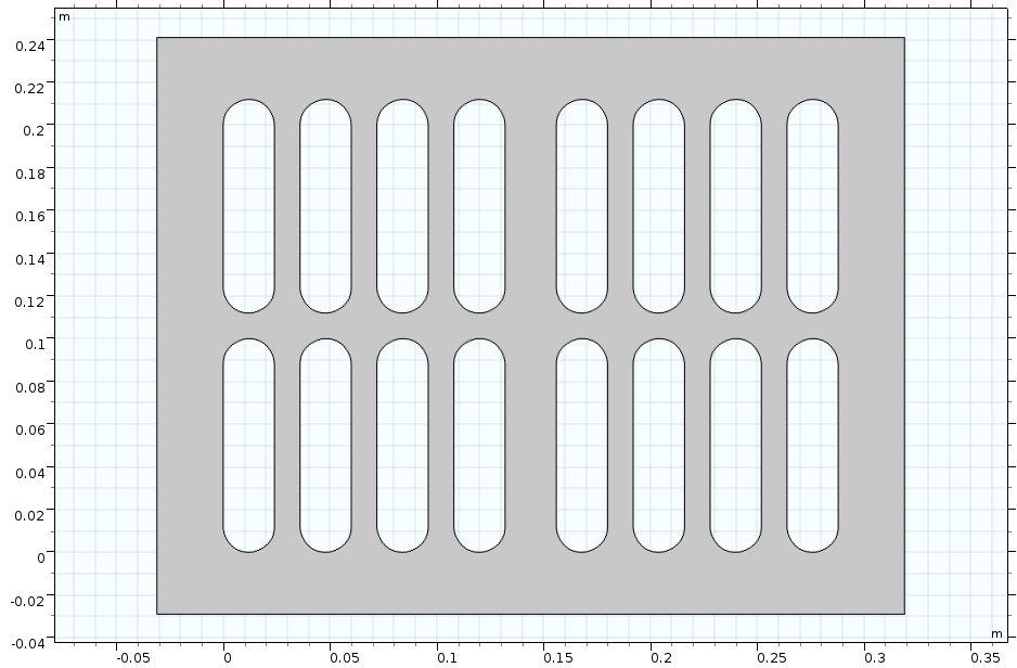 A 2D COMSOL geometry of a plate with slots.