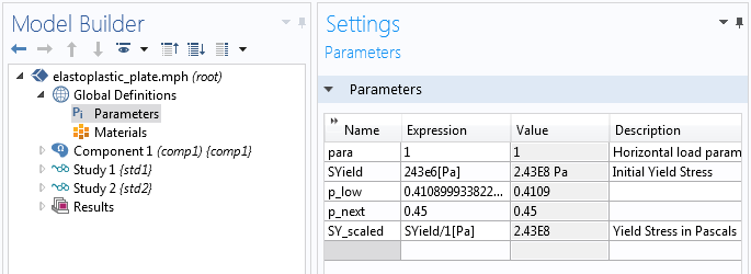 A screenshot of the COMSOL Multiphysics GUI showing a set of parameter values.