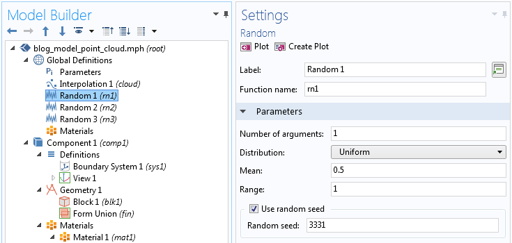 A screenshot showing the settings for one random variable in COMSOL Multiphysics.