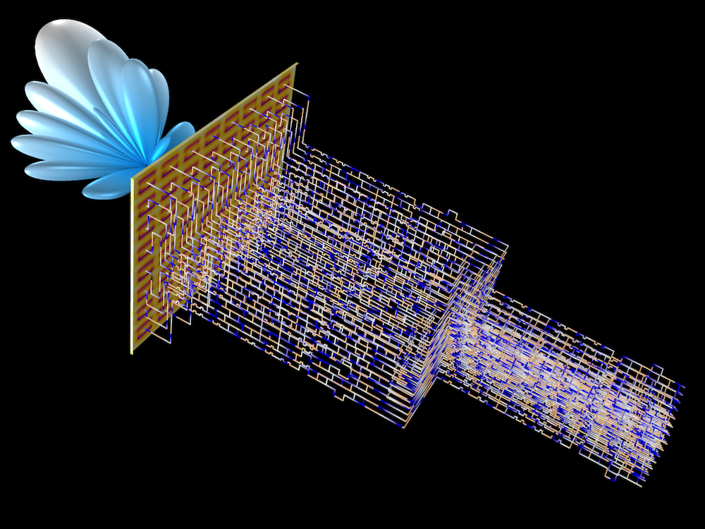 Simulation results showing the radiation pattern of a steering antenna connected to a Butler matrix.