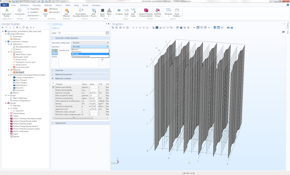 A screenshot of the Settings window for the Air material in COMSOL Multiphysics®.