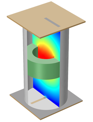 A COMSOL model of a cylindrical cavity filter.