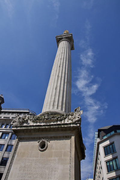 A photograph of a monument in remembrance of the Great Fire of London.