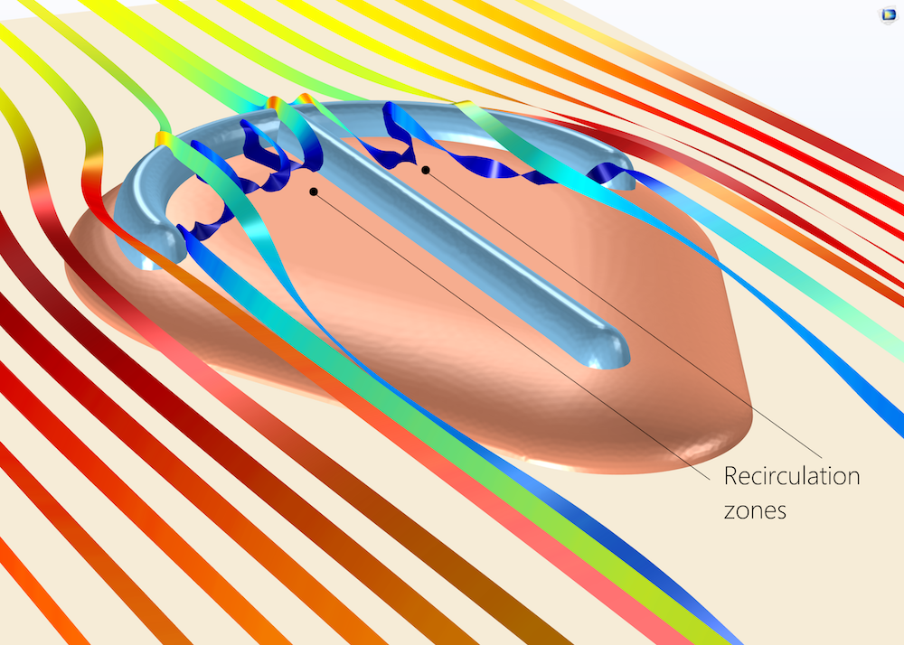 A close-up view of a Parvancorina CFD simulation.