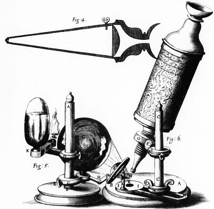 An illustration by Robert Hooke of the microscope he used for his book Micrographia.