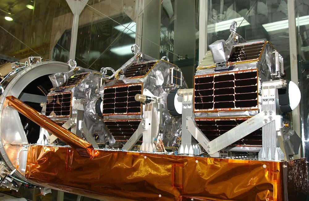 A photograph showing microsatellites used in NASA's Space Technology 5 mission.