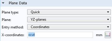 A screen capture showing how to add a parameter to the plane data feature.