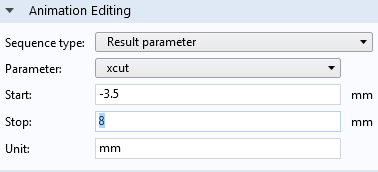 A screenshot showing the options for setting the parameter, start and stop values, and unit for an animation.