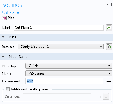 A screenshot of the Settings window for the cut plane.