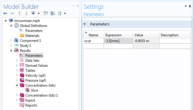 A screenshot showing how to define a parameter in COMSOL Multiphysics®.