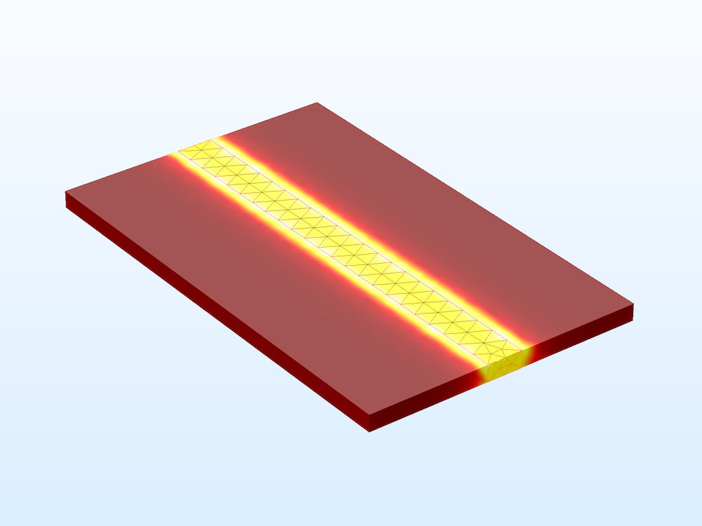 An EM model of a microstrip line, produced with the COMSOL Multiphysics software.