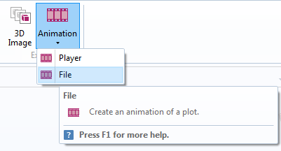 A screenshot showing how to generate an animation from simulation results.