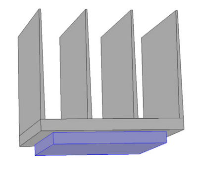 A schematic of the heat sink and electronic chip model.
