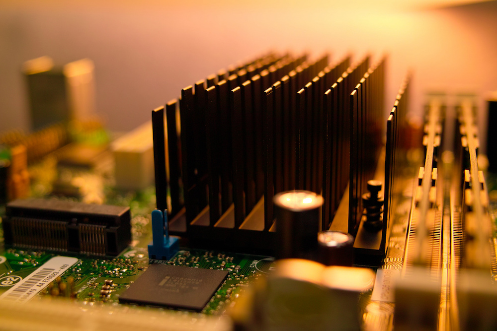 A photograph of a heat sink component on an electronic device.