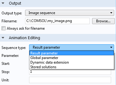 A screenshot showing how to link the exported image sequence file to a defined parameter.