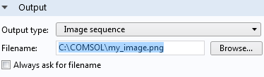 A screenshot showing how to set the Filename type for an image sequence.