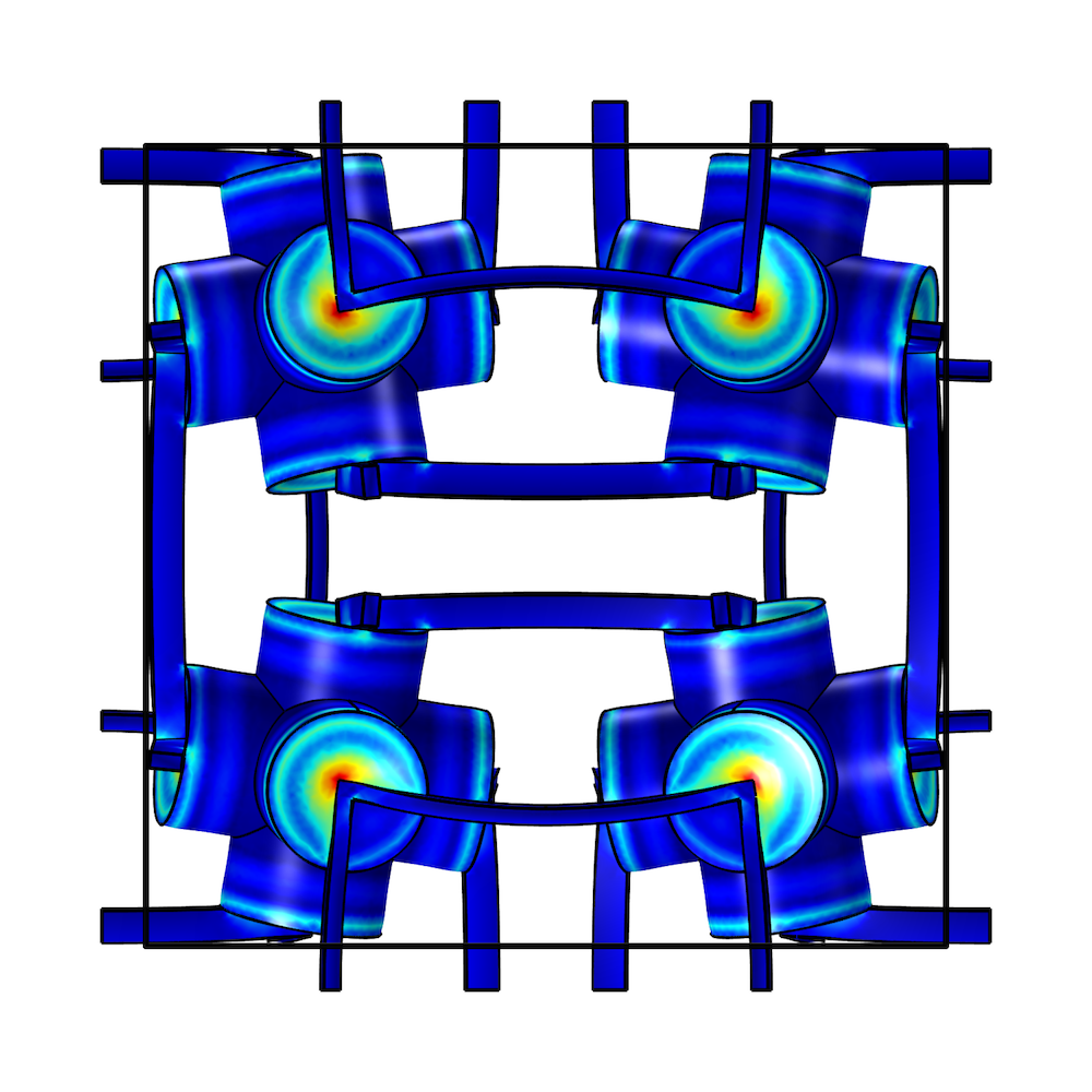 A side view of the simulation results for the poroelastic metamaterial structure.