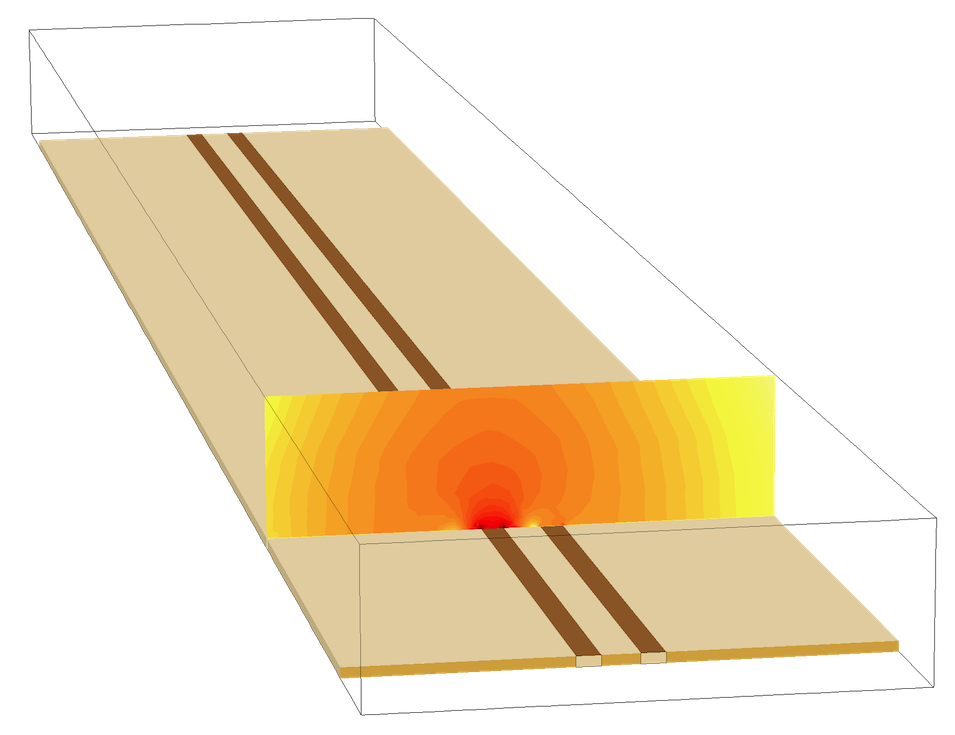 A COMSOL model of a microwave substrate with two microstrip lines.